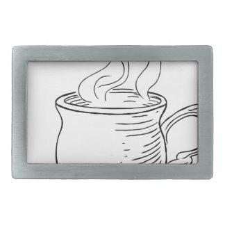Vintage Woodcut Cup of Tea or Coffee Belt Buckles