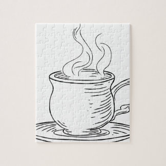 Vintage Woodcut Cup of Tea or Coffee Puzzle
