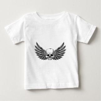 Vintage Woodcut Winged Skull Baby T-Shirt