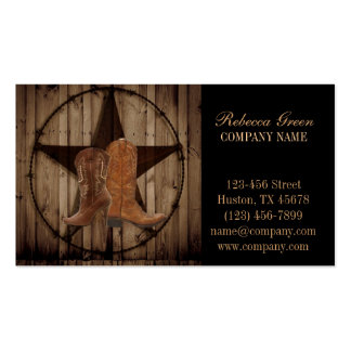 vintage woodgrain cowboy boots western country business card