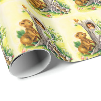 Vintage Woodland Animal tiled party wrap Wrapping Paper