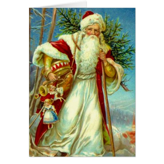 Vintage Woodland Santa Christmas Holiday Card