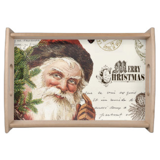 vintage woodland Santa Serving Tray