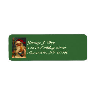 Vintage Woodland Santa W/ Gifts Snowing Labels
