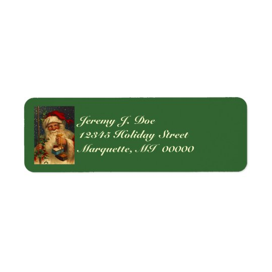 Vintage Woodland Santa W/ Gifts Snowing Labels