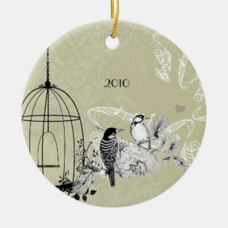 Vintage Woodpeckers & Bird Cage on Damask Christmas Ornament