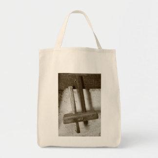 Vintage woodworking tool grocery tote bag
