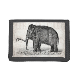 Vintage Woolly Mammoth Illustration Wooly Mammoths Tri-fold Wallets