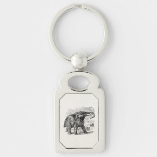 Vintage Woolly Mammoth Personalized Extinct Animal Silver-Colored Rectangle Key Ring