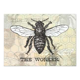 Vintage Worker Bee Beautiful Invitation Cards
