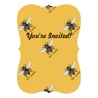 Vintage Worker Bee Illustration 13 Cm X 18 Cm Invitation Card
