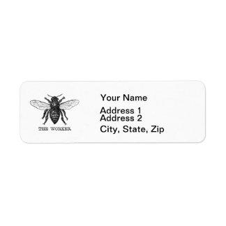Vintage Worker Bee Illustration Return Address Label