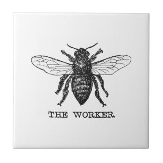 Vintage Worker Bee Illustration Tile