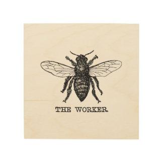 Vintage Worker Bee Illustration Wood Wall Decor