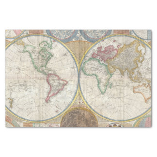"Vintage World Map 10"" X 15"" Tissue Paper"