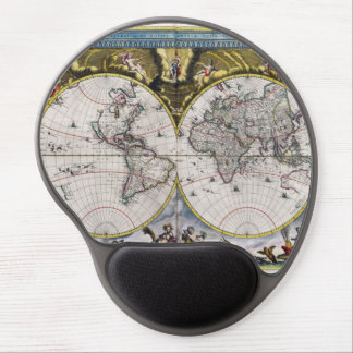 Vintage World Map (1664) Gel Mousepad