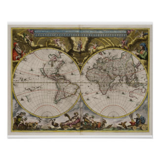 Vintage World Map (1664) Poster