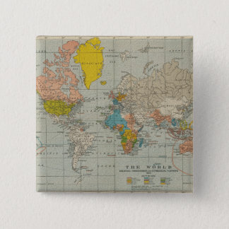 Vintage World Map 1910 15 Cm Square Badge
