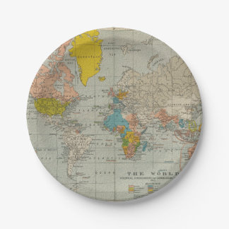 Vintage World Map 1910 7 Inch Paper Plate