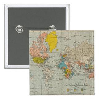 Vintage World Map 1910 15 Cm Square Badge