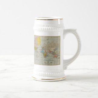 Vintage World Map 1910 Beer Stein