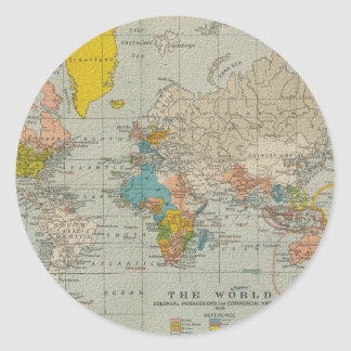 Vintage World Map 1910 Classic Round Sticker