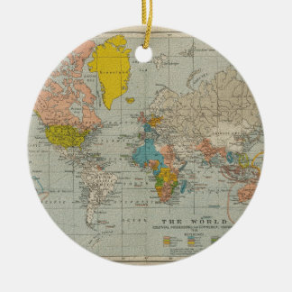 Vintage World Map 1910 Christmas Ornaments