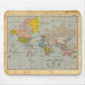 Vintage World Map 1910 Mouse Pad