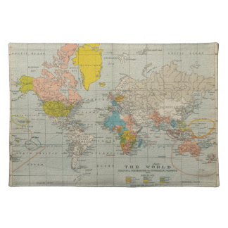 Vintage World Map 1910 Placemat