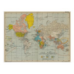 Vintage World Map 1910 Postcard