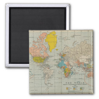 Vintage World Map 1910 Square Magnet