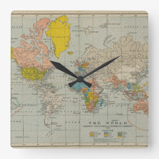 Vintage World Map 1910 Square Wall Clock