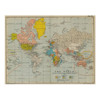 Vintage World Map 1910 V2 Postcard