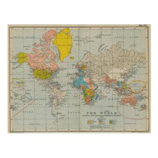 Vintage World Map 1910 V2 Postcard