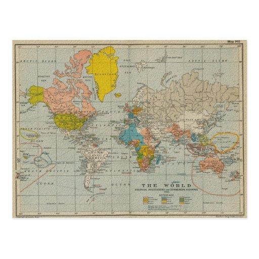 Vintage World Map 1910 V2 Post Card