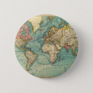 Vintage World Map 6 Cm Round Badge