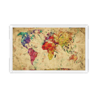 Vintage world map acrylic tray