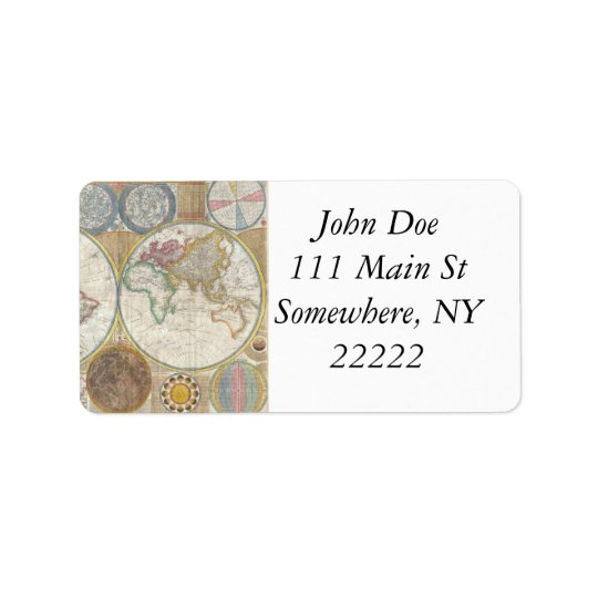 Vintage World Map Address Label