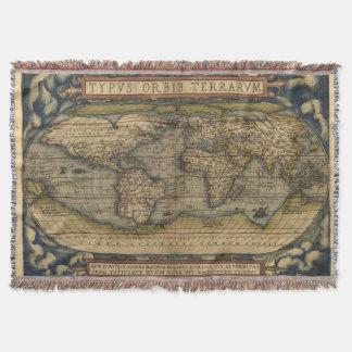 Vintage World Map Afghan Throw Blanket