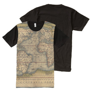 Vintage World Map All-Over Print T-Shirt