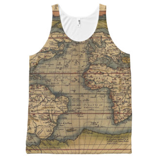 Vintage World Map All-Over Print Tank Top
