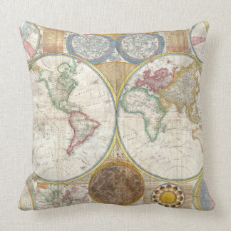 Vintage World Map and Astronomy Chart Exquisite Cushion