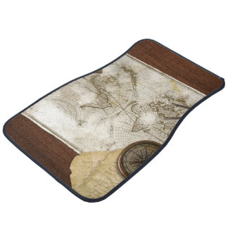 Vintage World Map And Tools Car Mat