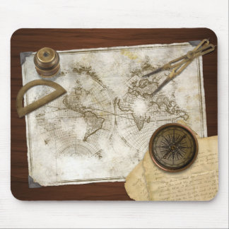 Vintage World Map And Tools Mouse Mat