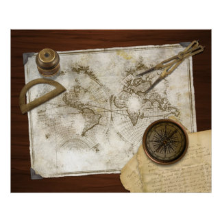 Vintage World Map And Tools Poster