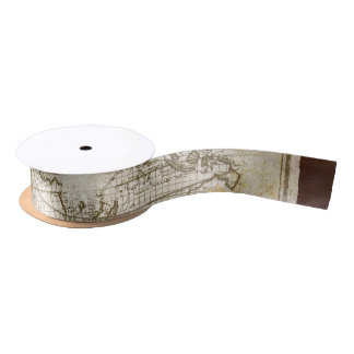 Vintage World Map And Tools Satin Ribbon