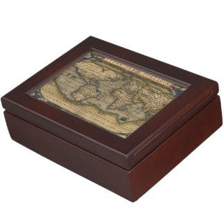Vintage World Map Antique Atlas Memory Box
