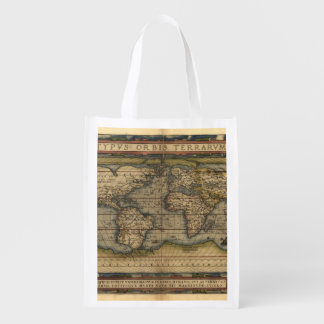 Vintage World Map Antique Atlas Reusable Grocery Bag