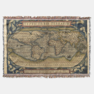 Vintage World Map Antique Atlas Throw Blanket