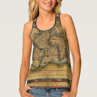 Vintage World Map Antique Travel Tank Top